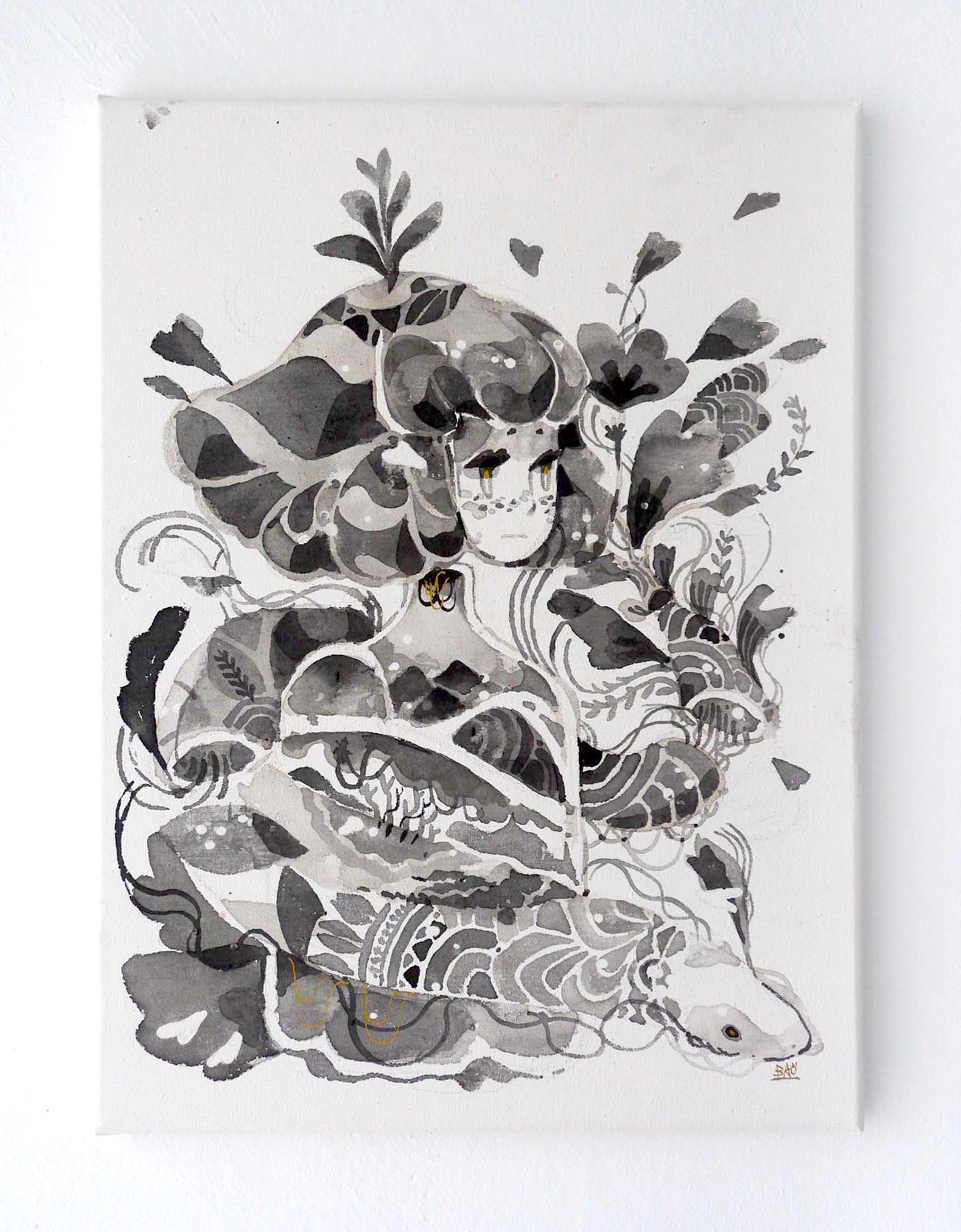 Bao Ho, Snake 1, 2019. 12 in x 16 in, Ink on canvas.